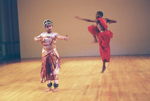 Dancers: L to R - Sreshta Paranji, Kuchipudi, Wanjiru Kamuyu, modern dance.  Photographer: Julie Lemberger