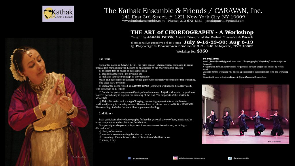 The Art of Choreography Workshop Flyer